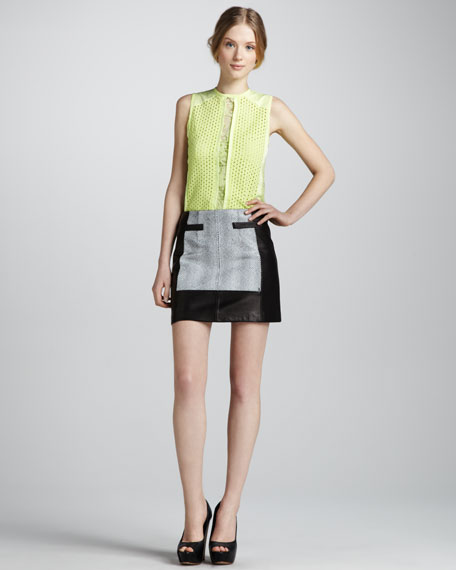 Graphic Design Leather Miniskirt