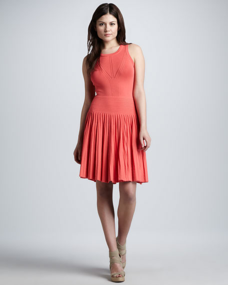 Josephine Pleated Knit Dress, Coral