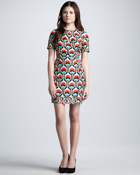 Short-Sleeve Geometric-Print Dress