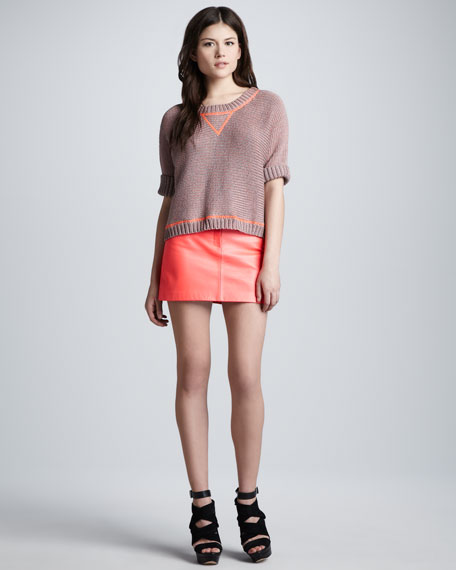Lamb Leather Miniskirt, Coral