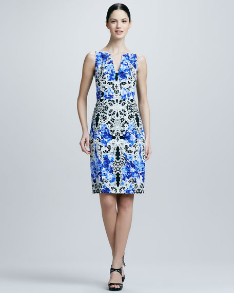 Nessa Printed Sheath Dress, Lagoon