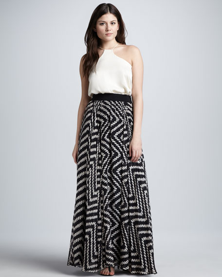 Luca Dot-Print Maxi Skirt