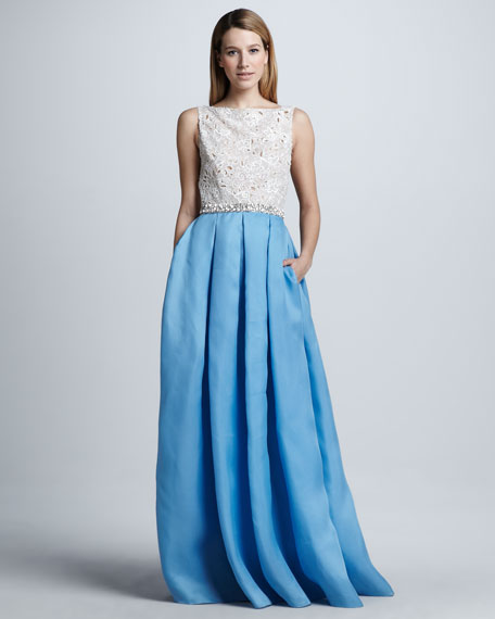 Beaded-Waist Full-Skirt Lace/Satin Combination Gown