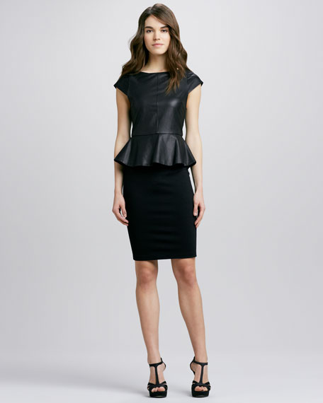 Victoria Leather-Top Peplum Dress