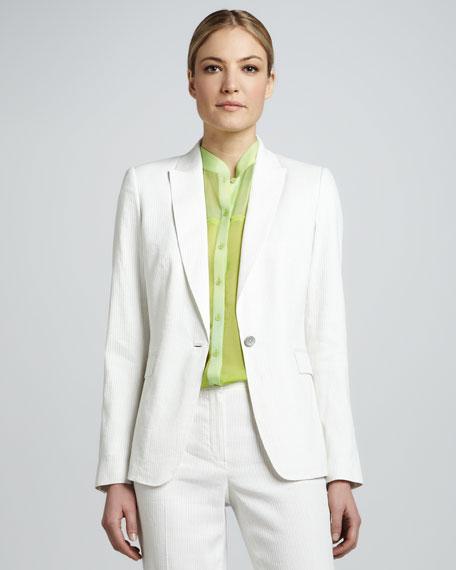Darcy One-Button Seersucker Suit Jacket
