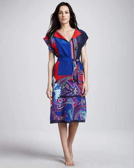 Daphnie Split-Neck Coverup Dress
