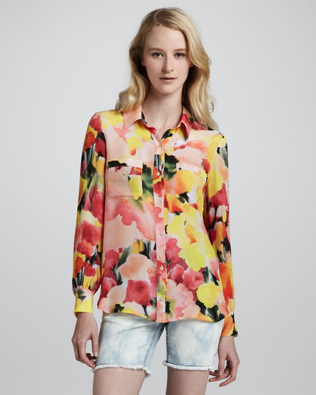 Floral-Print Button Down Blouse