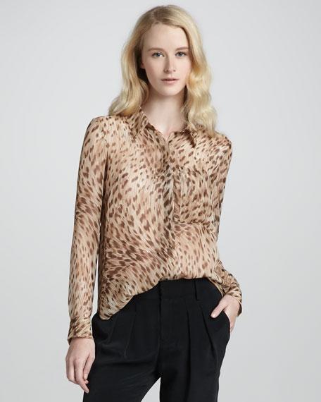 Leopard-Print Button Down Blouse