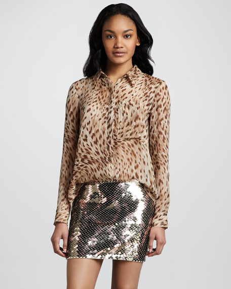 Sequined Jersey Miniskirt
