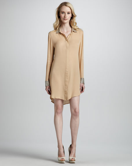 Bead-Embellished Shirt Dress