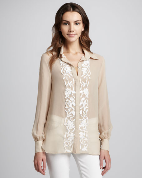 Floral Embroidery Two-Button Blouse