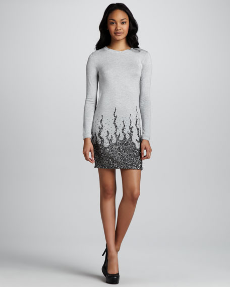 Long-Sleeve Sequin-Embellished Mini Dress