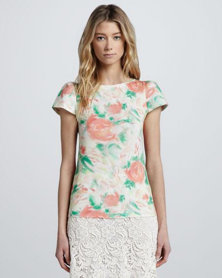Floral-Print Puff-Sleeve Tee
