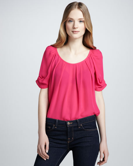 Eleanor Tie-Back Blouse, Bright Fuchsia