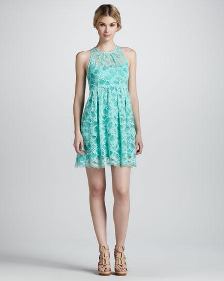 Secret Escapes Lace-Overlay Dress, Mint