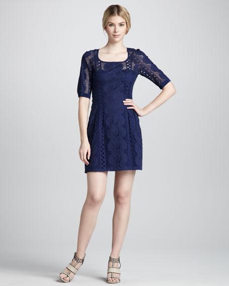 Sandy Beach Lace Dress, Navy