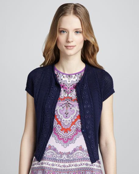 Lyre Tambourine Knit Cardigan, Indigo