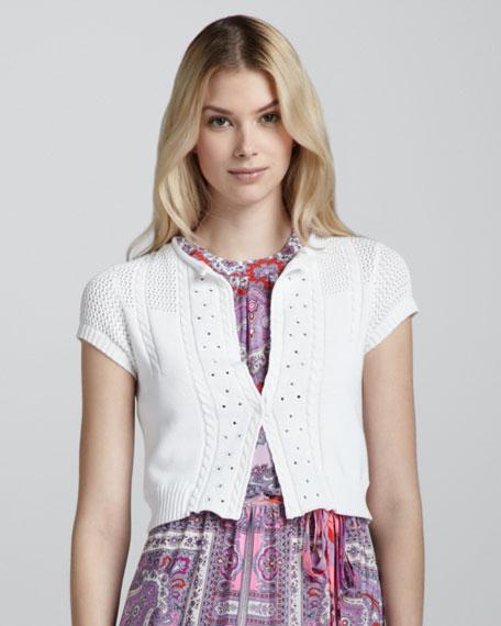 Lyre Tambourine Knit Cardigan, White