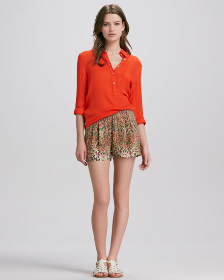 Pleated-Front Abstract-Print Silk Shorts