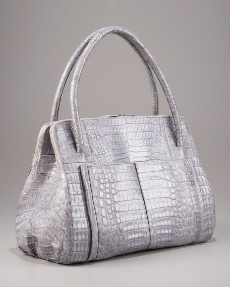 Linda Crocodile Bag, Light Gray