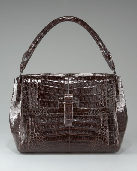 Crocodile Flap-Top Shoulder Bag