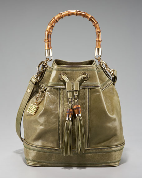 Bamboo-Handle Drawstring Bucket Bag