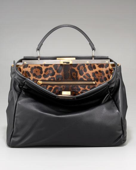 Leopard-Print Calf Hair Peekaboo Bag