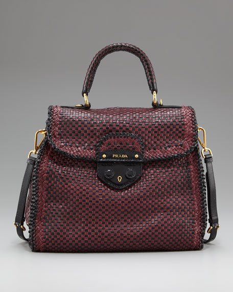 9b542bc350 Prada Madras Woven Top-Handle Satchel