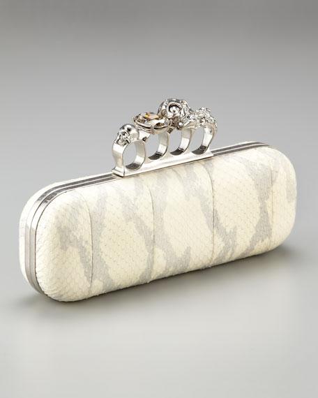 Knuckle-Duster Snakeskin Box Clutch, Ivory