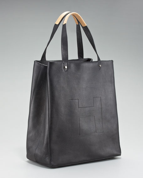 Ashleigh Leather Shopper, Black
