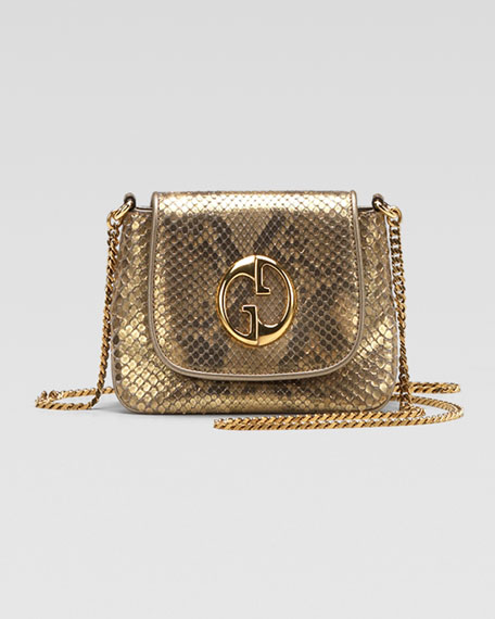 1973 Small Shoulder Bag, Oro/Champagne Python