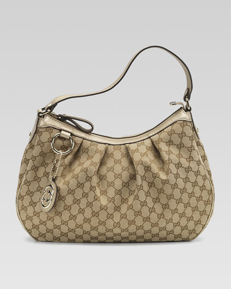 Sukey Medium Hobo, GG Fabric and Champagne Leather