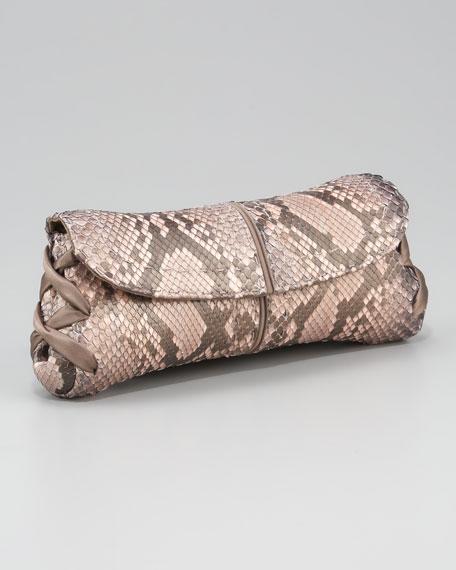 Ballerina Pickstitched Clutch Bag, Python