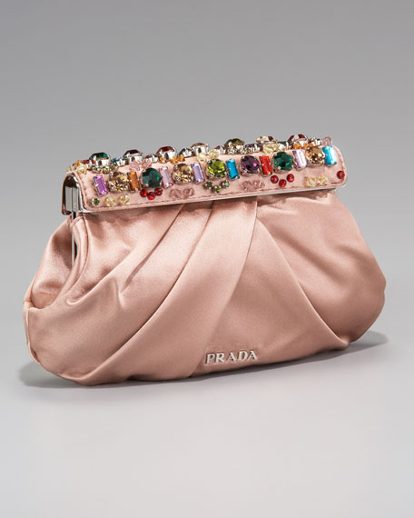Raso Jeweled Clutch, Nudo/Nude