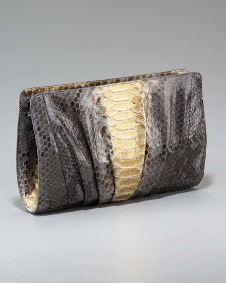 Pleated Python Clutch