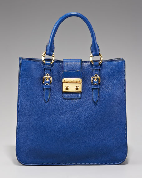Leather Shopper, Cobalt Blue