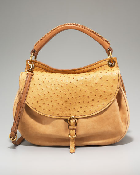 Leather-Ostrich Aviator Hobo