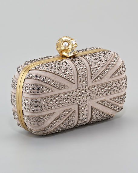 Crystal Britannia Box Clutch, Gray