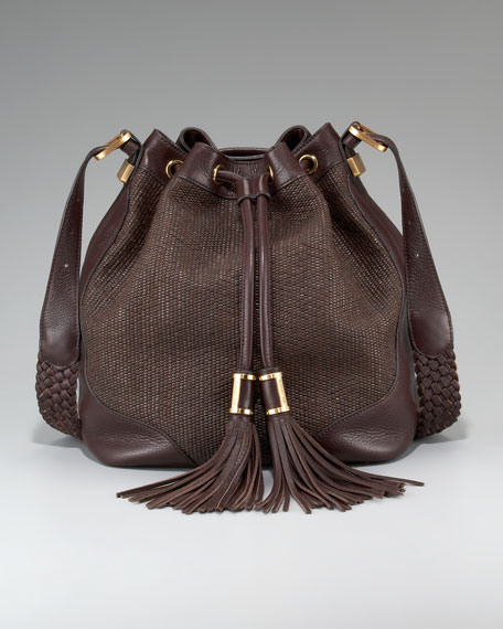 Joni Raffia/Leather Bucket Bag