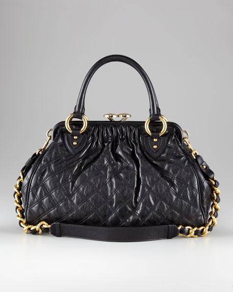 Stam Quilted Satchel Bag, Black