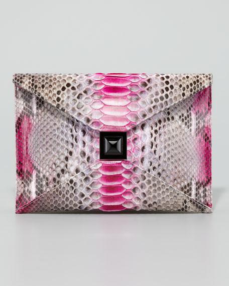Prunella Python Clutch Bag, Pink