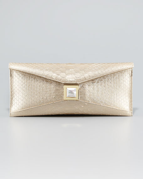 Prunella Metallic Python Clutch Bag