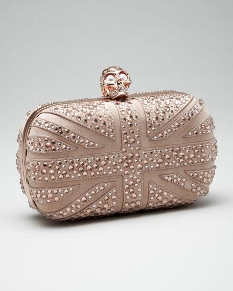 Crystal Britannia Box Clutch, Pink