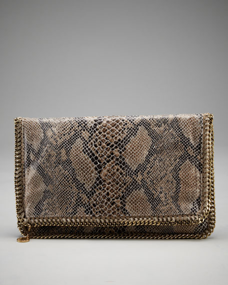 Fold-Over Snake-Printed Clutch