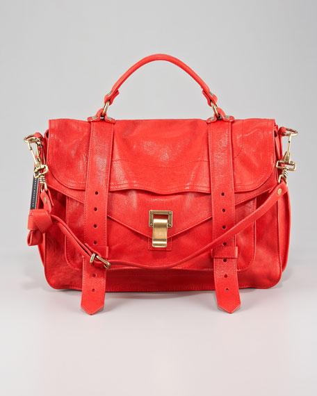 PS1 Medium Satchel Bag, Bright Red