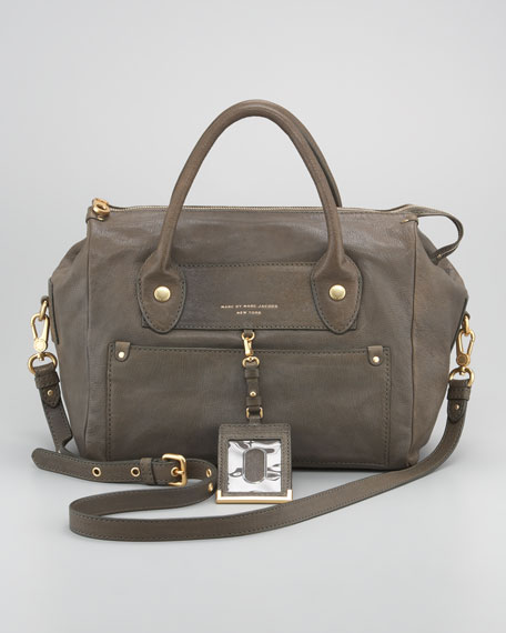 Preppy Pearl Leather Satchel Bag