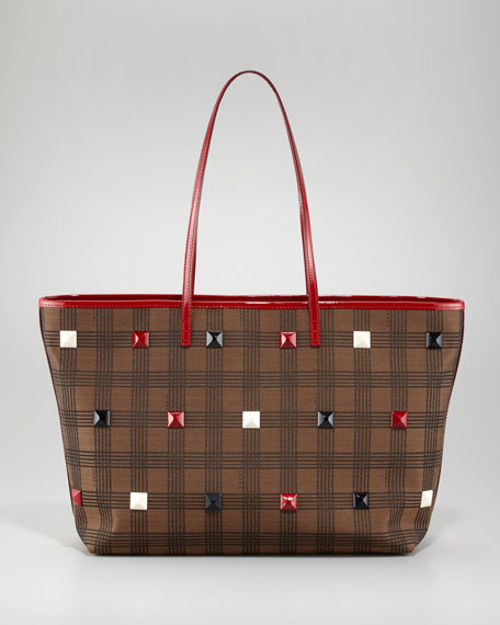 Studded Plaid Roll Bag