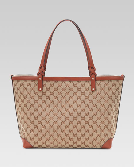 Medium Gucci Craft Tote Bag, Beige/Ebony