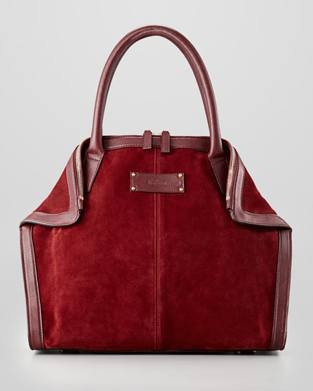 Mini Suede De-Manta Tote Bag, Light Oxblood