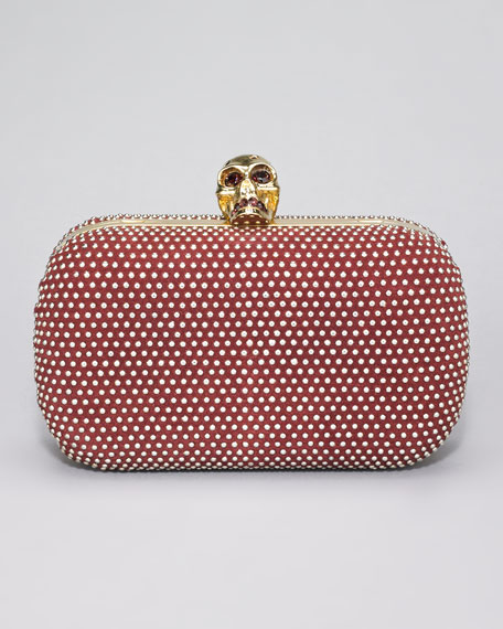 Studded Skull-Clasp Clutch Bag